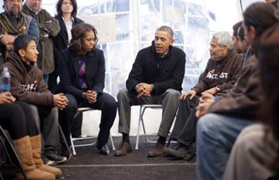 Visitaron Obama y su esposa a ayunantes por una reforma migratoria