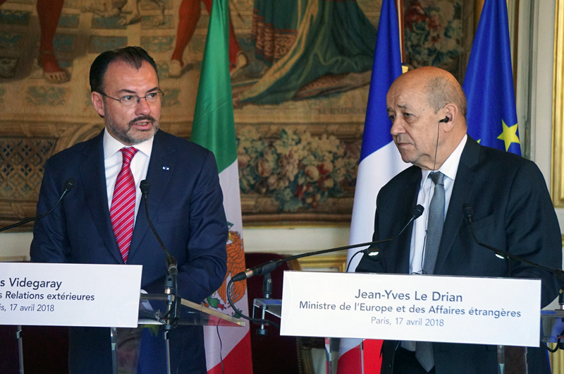 """Canciller de Francia ofrece """"alianza"""" estratégica a México"""